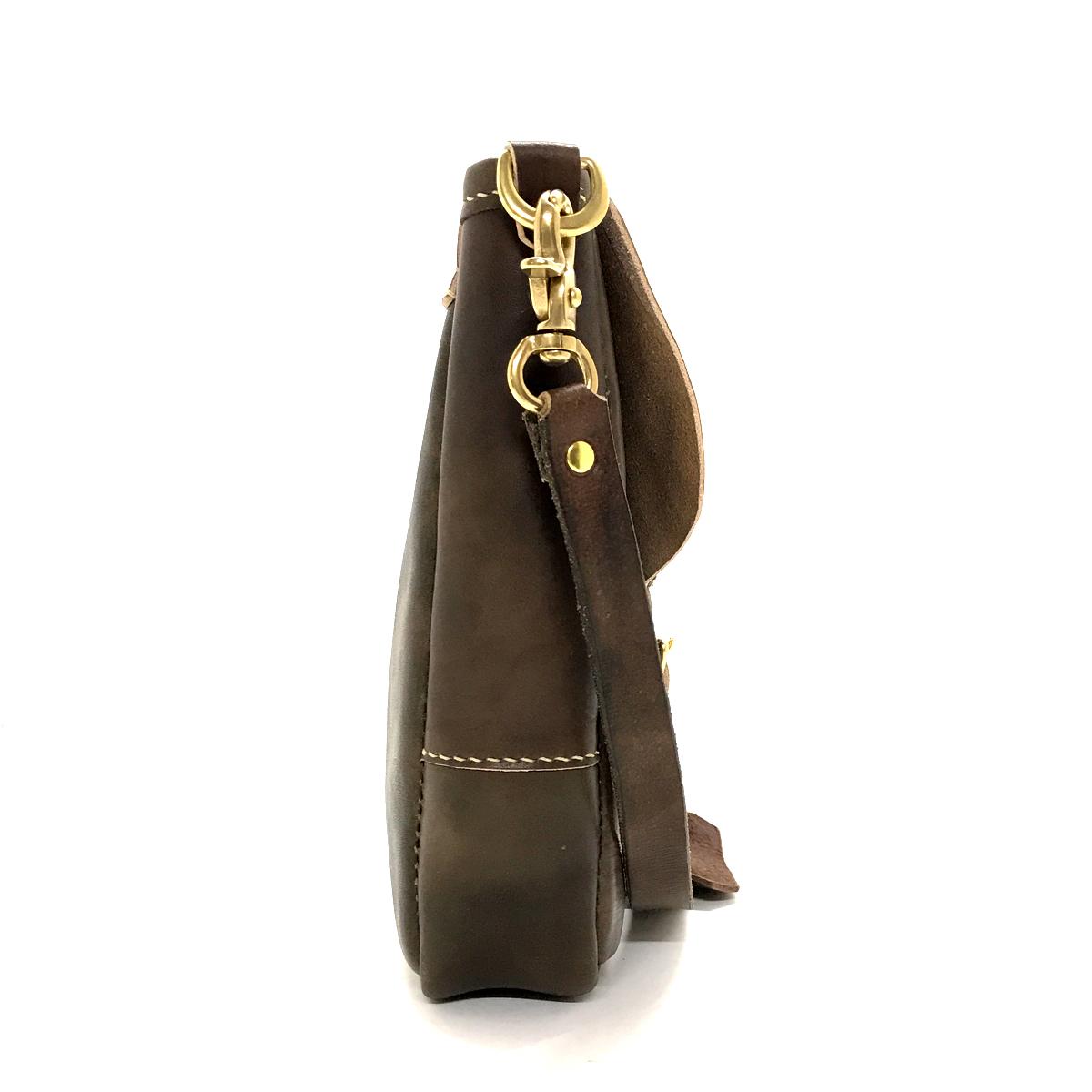 Antique Dyed Leather Concho Shoulder Bag Midium